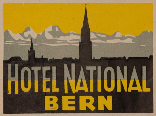 Hotel National Bern Original Swiss Luggage Label