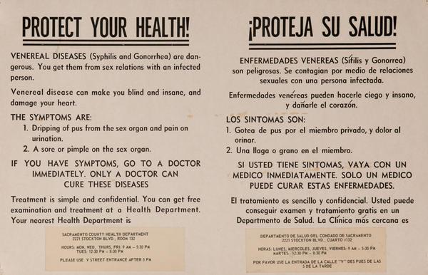Original Protect Your Health Venereal Disease Poster, English Spanish