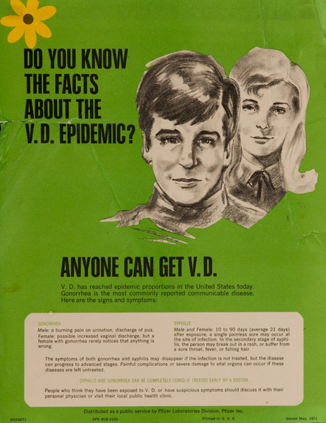 Do You Know The Facts About the V.D Epidemic - Anyone Can Get V.D., Original Pfizer Inc,  Public Health Venereal Disease Poster