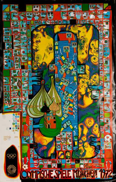 Original 1972 Munich Olympics Poster Hundertwasser