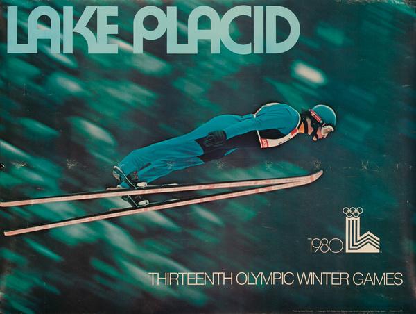 Original 1980 Lake Placid Olympic Poster Ski Jumper