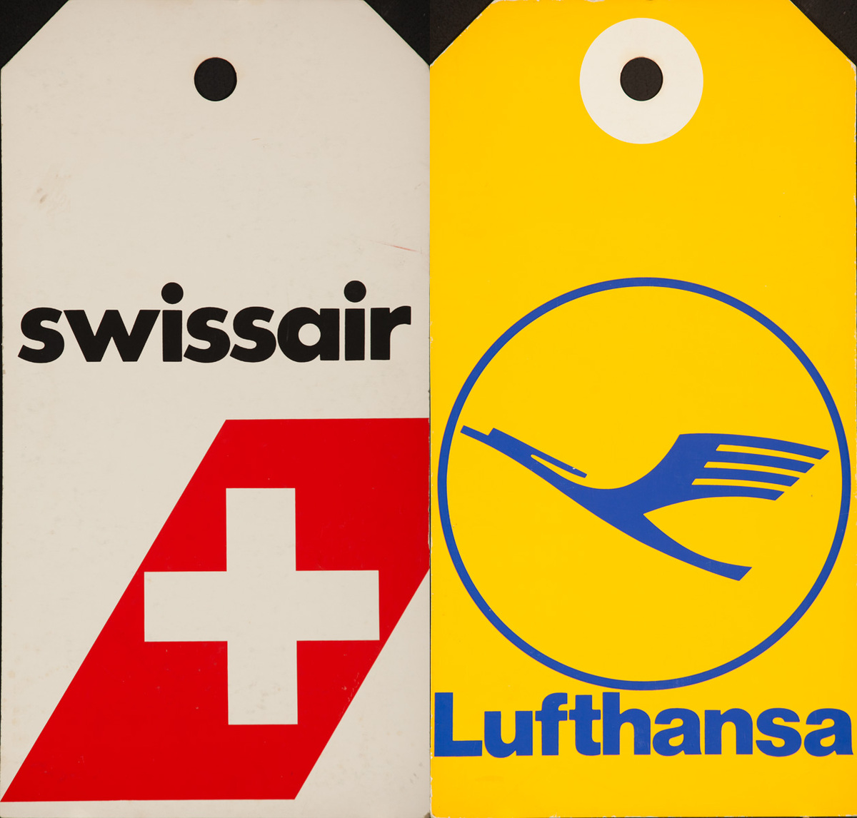 Original 2 Sided Travel Agency Advertising Display Card Poster Swissair and Lufthansa