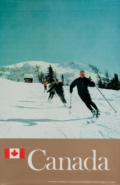 Original Canada Travel Poster Skier