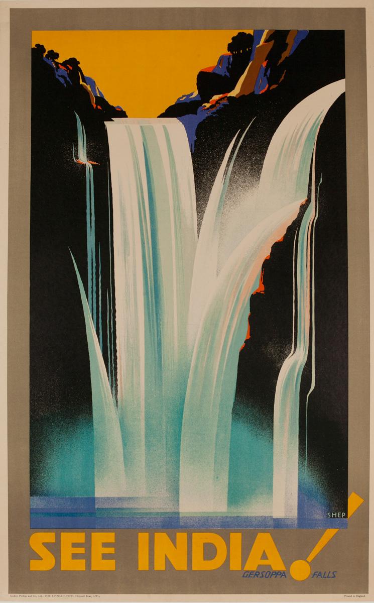 See India, Gersoppa Falls, Original Indian Travel Poster