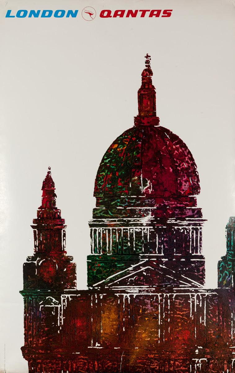 London Qantas Original Travel Poster, St. Paul's Cathedral