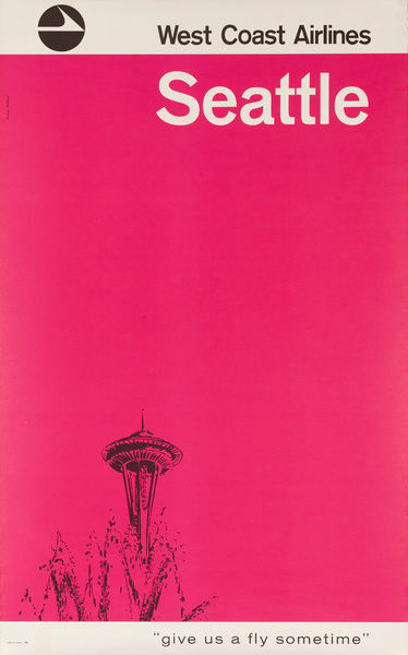 West Coast Airlines Original Travel Poster Seattle, Give us a Fly Sometimes, Space Needle