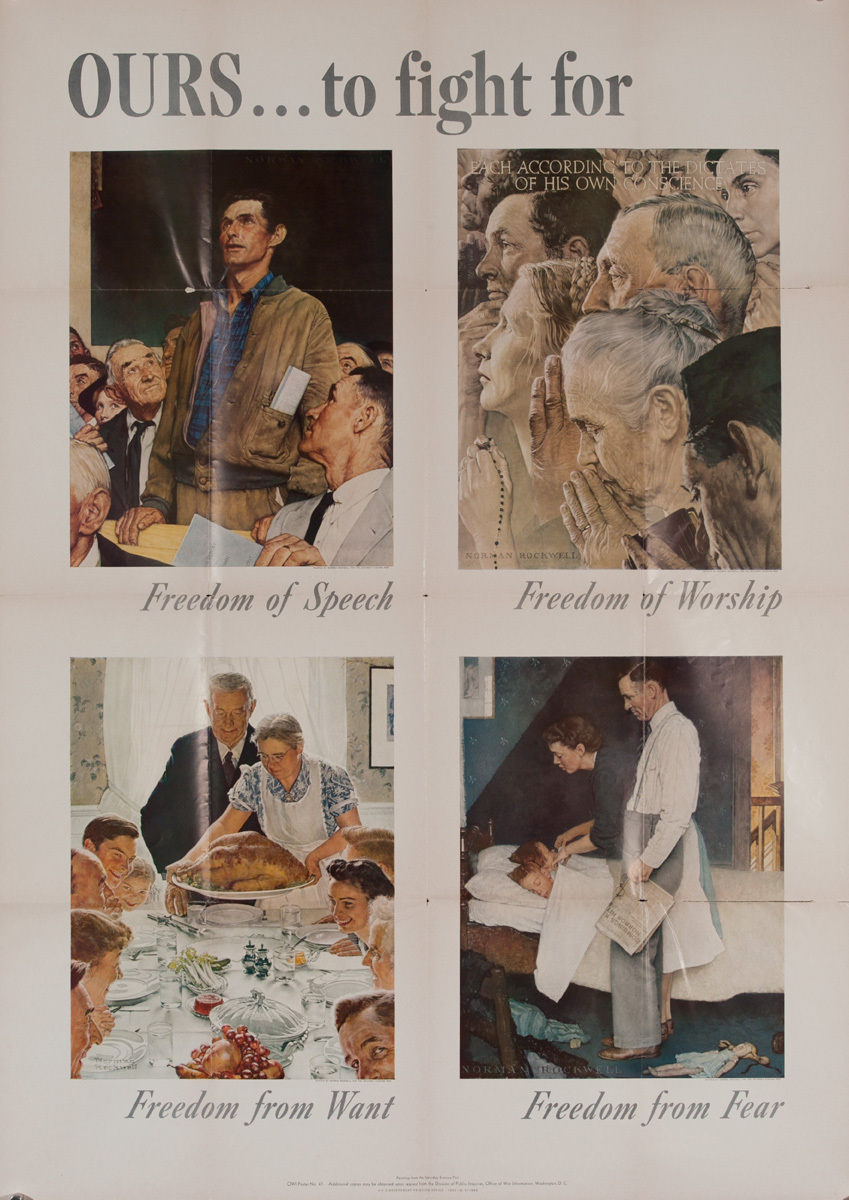 Ours to Fight For, Four Freedoms Original American WWII Poster