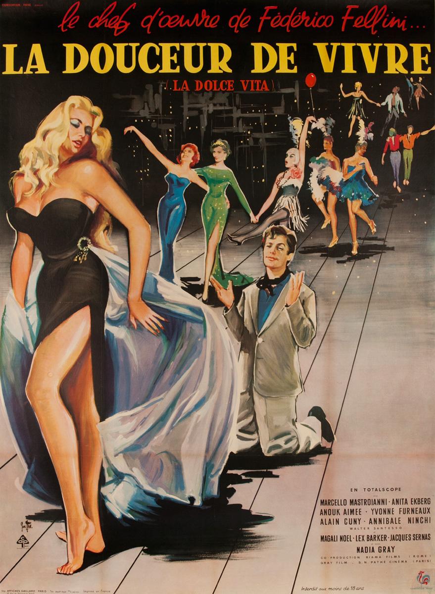 La Douceur de Vivre,  La Dolce Vita, Original French Movie Poster