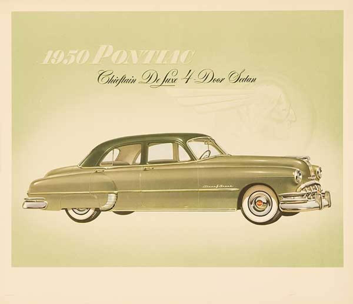 1950 Pontiac Chieftan Deluxw 4 Door Sedan Original Showroom Advertising Poster