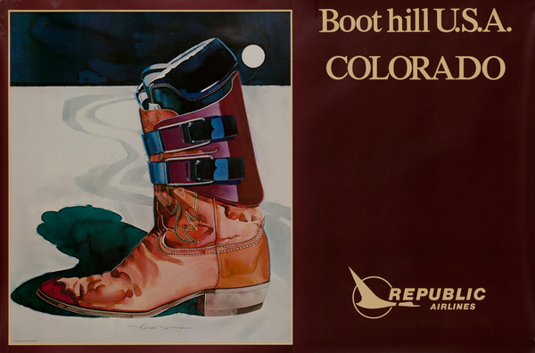 Republic Airlines Original Travel Poster, Boot Hill USA Colorado