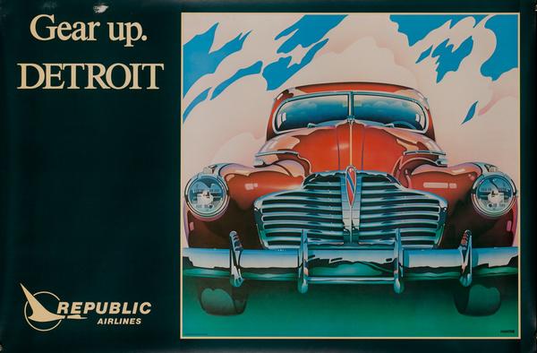 Republic Airlines Original Travel Poster, Gear Up Detroit