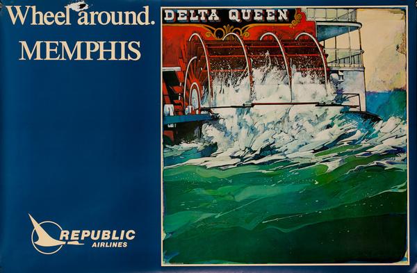 Republic Airlines Original Travel Poster, Wheel Around. Memphis