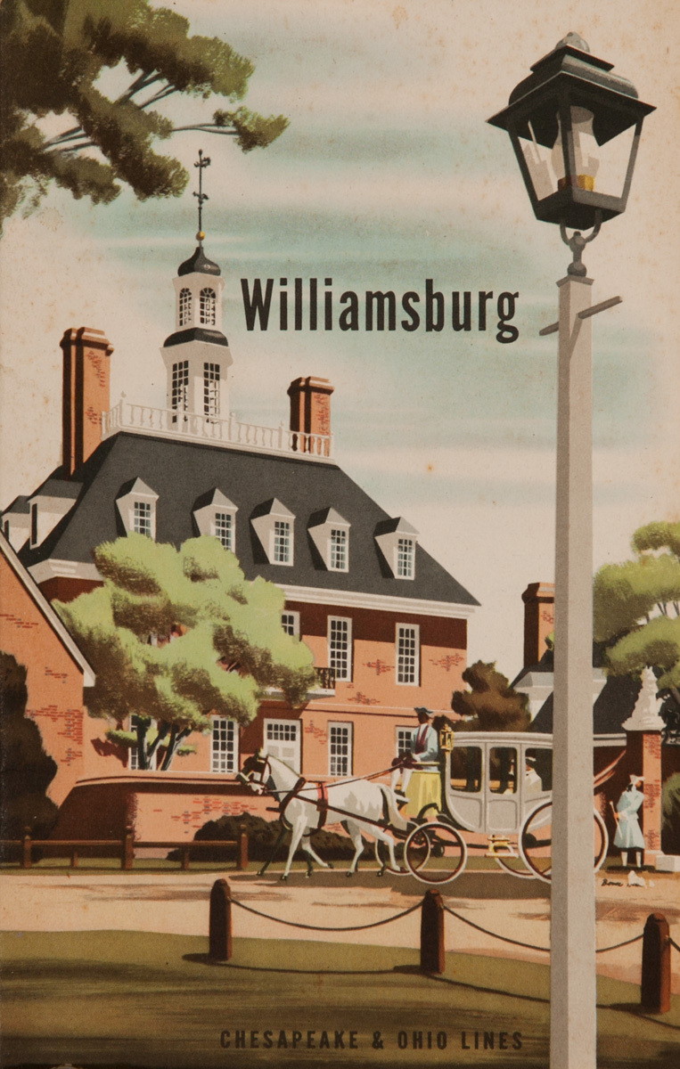 Williamsburg, Chesapeake and Ohio Lines, Original American Travel Brochure