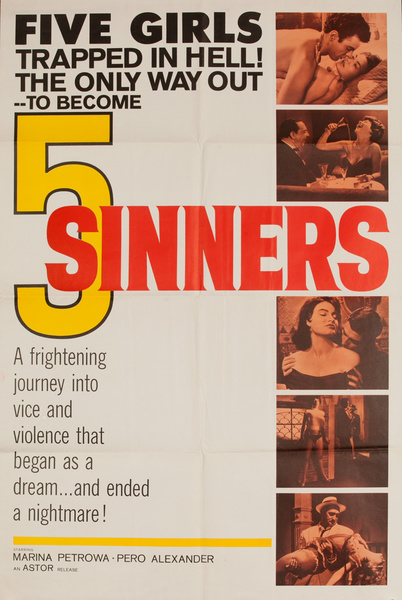 5 Sinners, Original American X Rated Adult Movie Poster