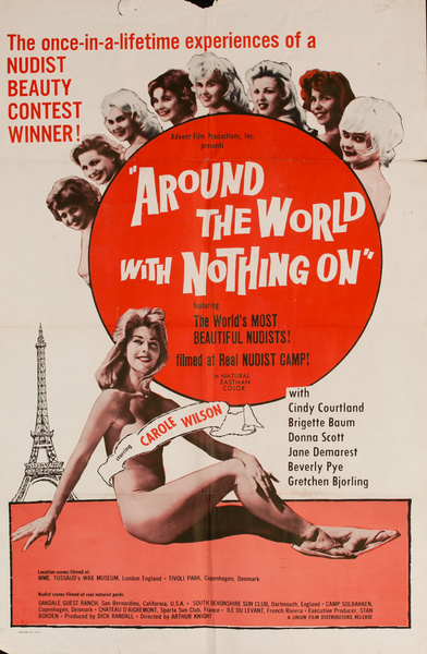 Around the World with Nothing On, Original American X Rated Adult Movie Poster