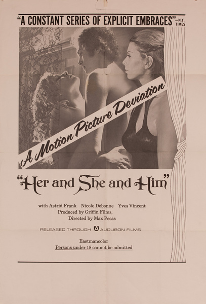 Her and She and Him, Original American X Rated Adult Movie Poster