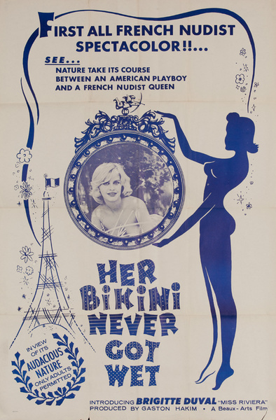 Her Bikini Never Got Wet, Original American X Rated Adult Movie Poster