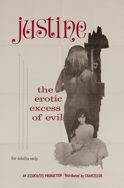 Justine the Erotic Excess of Evil, Original American X Rated Adult Movie Poster