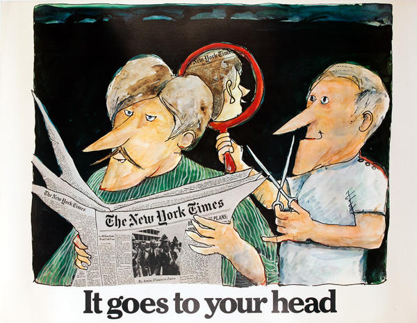 The New York Times -It Goes to Your Head, Original American Advertising Poster, Barber