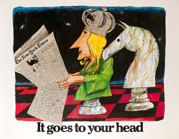 The New York Times -It Goes to Your Head, Original American Advertising Poster, Chessboard