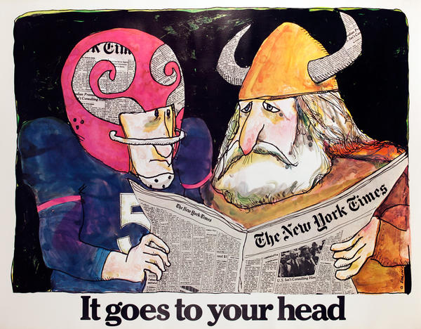 The New York Times -It Goes to Your Head, Original American Advertising Poster, Football Viking