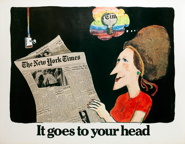 The New York Times -It Goes to Your Head, Original American Advertising Poster, Lightbulb