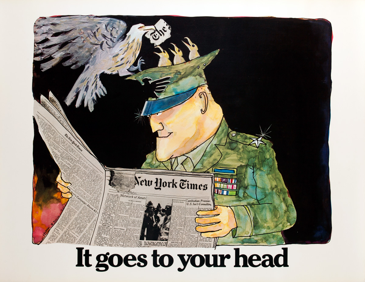 The New York Times -It Goes to Your Head, Original American Advertising Poster, Soldier