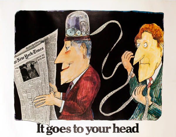 The New York Times -It Goes to Your Head, Original American Advertising Poster, Stock Ticker Tape