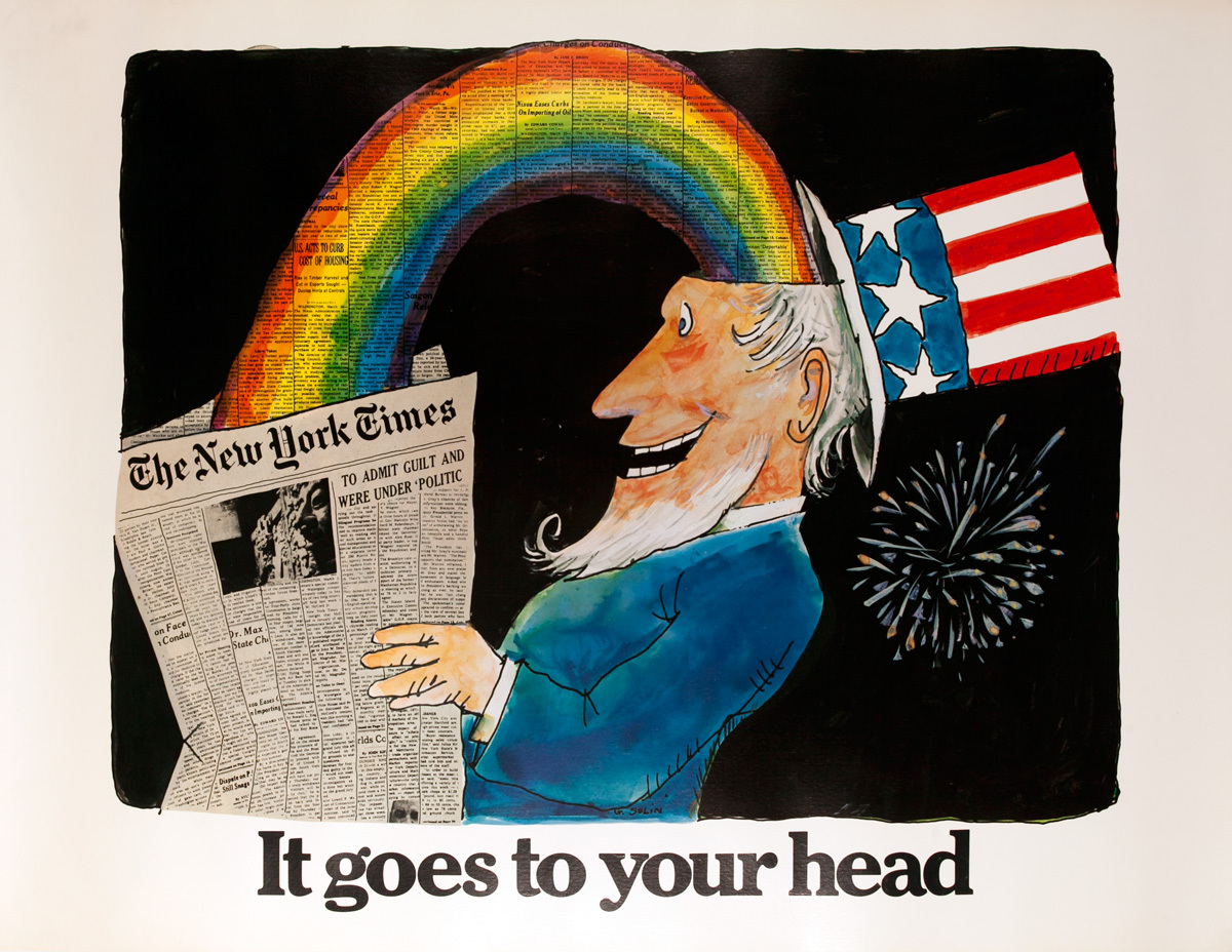 The New York Times It Goes to Your Head, Original American Advertising Poster, Uncle Sam