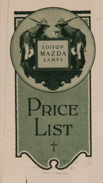 Edison Mazda Lamps Price List Original Advertising Brochure