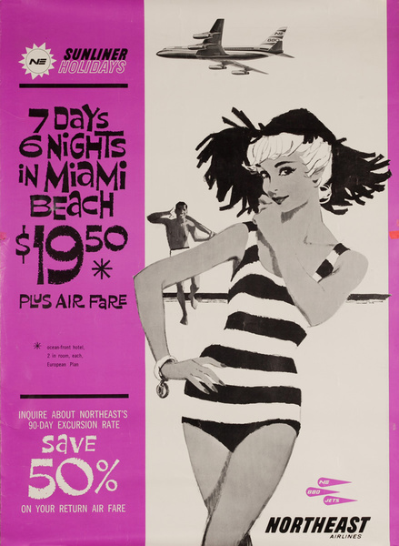 Northeast Airlines 7 Day 6 Nights in Miami Beach Original Travel Poster