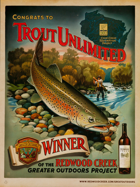 Congrats to Trout Unlimited, Winner of the Redwood Creek Greater Outdoor Project, Original American Vineyard Advertising Poster, Pinot Noir