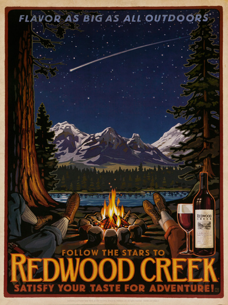 Flavor as Big as All Outdoors, Follow the Stars to Redwood Creek, Satisfy Your Taste for Adventure,  Original American California Vineyard Advertising Poster