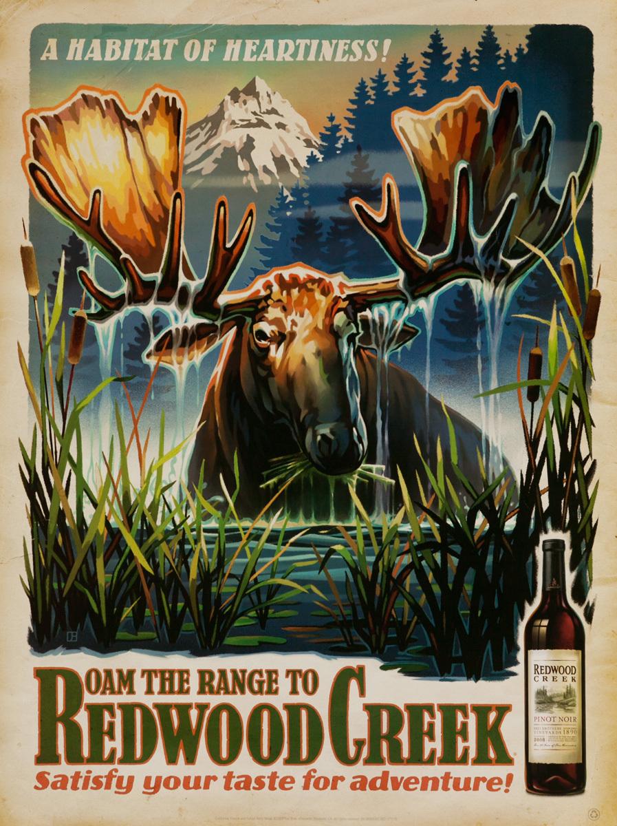 A Habitat of Heartiness!, Roam the Range to Redwood Creek Original American Vineyard Advertising Poster, Pinot Noir