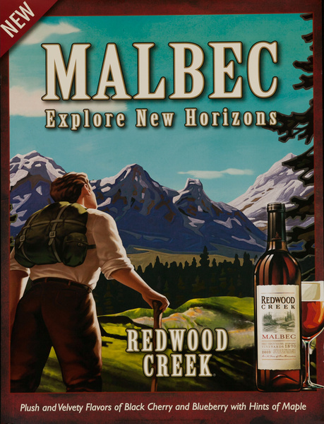 Malbec, Explore New Horizons, Redwood Creek Original American Vineyard Advertising Poster