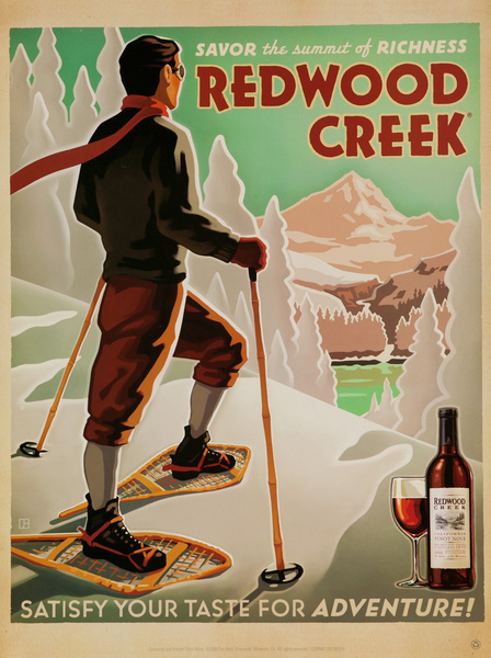 Savor the Summit of Richness, Redwood Creek, Satisfy Your Taste for Adventure, Original American Vineyard Advertising Poster, California Pinot Noir