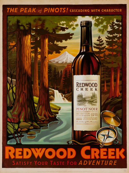 The Peak of Pinots! Cascading With Character, Redwood Creek Original California American Vineyard Advertising Poster, Pinot Noir