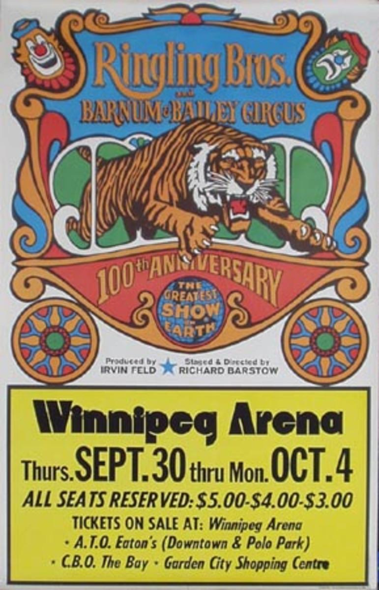 Original 1970 RBBB Circus Vintage Poster tiger cage