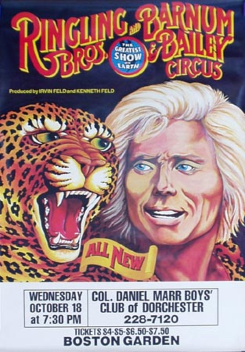 Ringling Brothers Barnum And Bailey RBBB Circus Original Vintage Poster All New Man Tiger