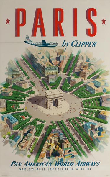 Paris by Clipper Original Pan American Airline Travel Poster Arc de Triomphe