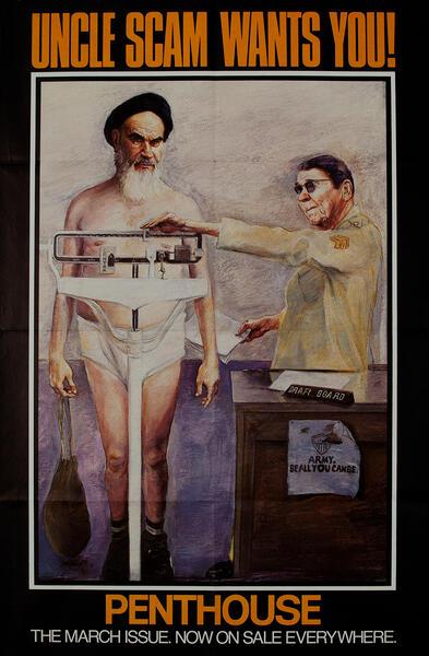 Ayatollah Khomeini & Ronald Reagan Original Penthouse Magazine Subway Poster