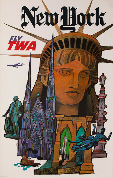 New York Fly TWA, Original Airline Travel Poster