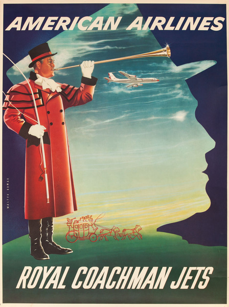 American Airlines Royal Coachman Jets, Original Travel Poster Silhouette