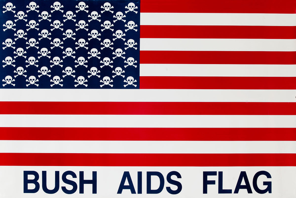 Bush Aids Flag Original HIV Public Health Protest Poster