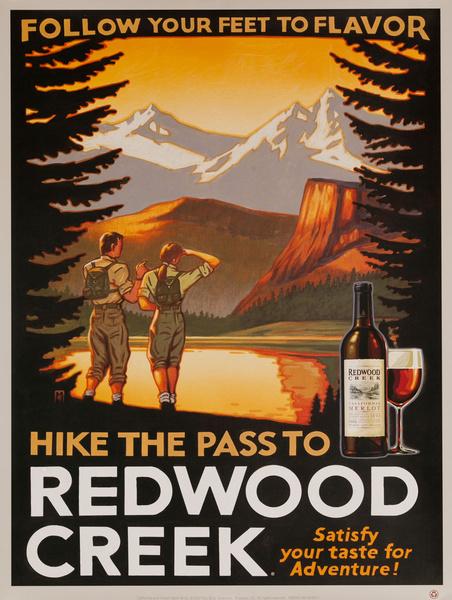 Follow Your Feet to Flavor, Redwood Creek Original American Vineyard Advertising Poster, California Merlot