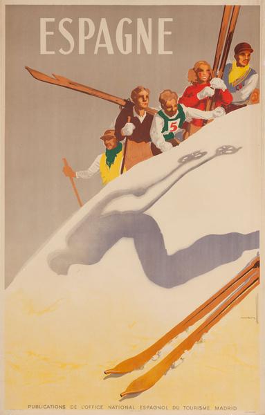 Espagne Spain Original Spanish Travel Poster Skier Silhouette