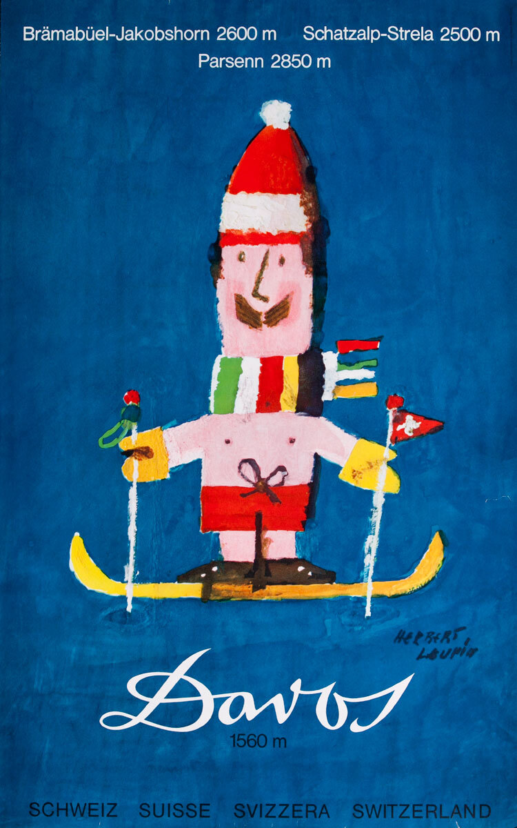Original Davos Switzerland Ski Poster