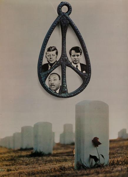 JFK, RFK, MLK, Peace Sign Cemetery, Original American anti-Vietnam War Peace Protest Poster