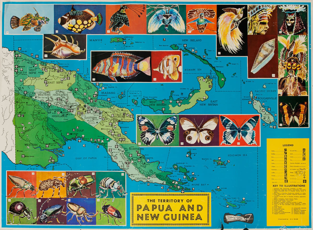 The Territory of Paua and New Guinea, Original Travel Poster Map