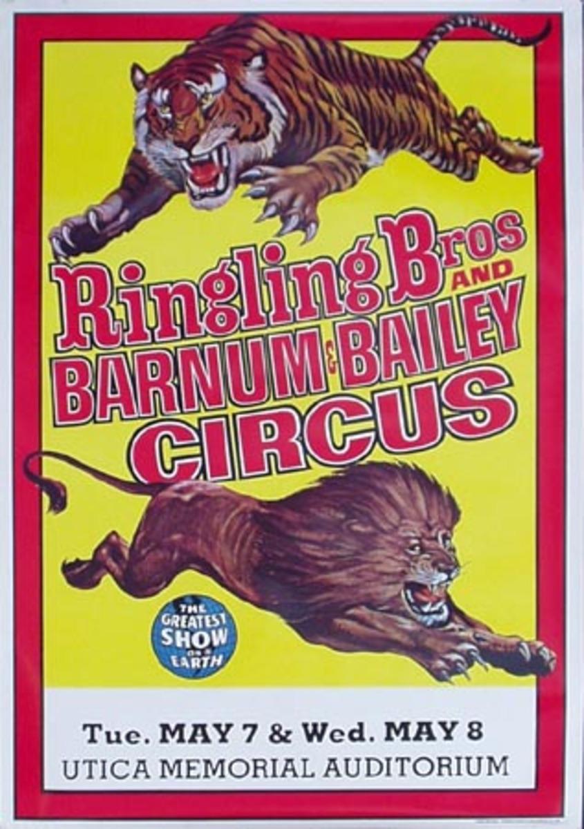 Original 1973 RBBB Circus Vintage Poster Lion and Tiger